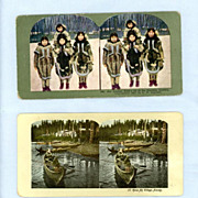 Two Color Stereoview Cards  Alaskan Village and Natives