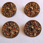Four Large Metal Buttons, Colorful Enamel Paint