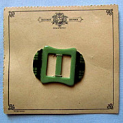 Green Buckle with Tartan Design on Original Card