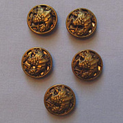 Five Vintage Metal Buttons, Layered Design of Grapes and Leaves