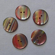 Five Red and Blue Iridescent Plastic Buttons, Very Pretty Colors