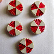 SOLD Five Buttons with Design of Red and White Triangles