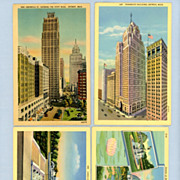 Detroit, Michigan � Skyscrapers and Belle Isle Park - Four Postcards, 1940s