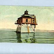 Vintage Postcard � Lighthouse on Stilts in Boston Harbor, Mailed 1912