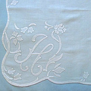 SOLD Monogram �H� In Applique Embroidery on Pink Handkerchief