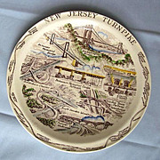SOLD Commemorative Plate of the New Jersey Turnpike, Vernon Kilns 1950s