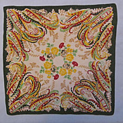 Handkerchief or Pocket Square, Paisley and Flowers in Green