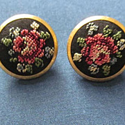 Petit-point Embroidery Rose Earrings  Sweet and Feminine