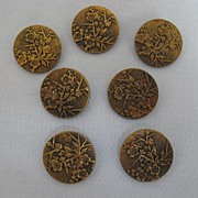 Parisienne Buttons - Beautiful Set of Seven with Floral Design
