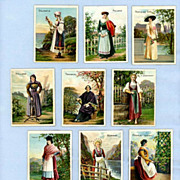 Set of 12 Trade Cards  Helmar Cigarettes Pretty Girls in Ethnic Costumes