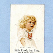 Adorable Little Girl on Trade Card for Little Rhody Cut Plug Tobacco