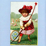 Cute Trade Card for Clark�s Thread � Girl with Archery Bow