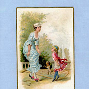 SOLD Woman Teaching Girl to Curtsy  Dog too  Trade Card for Tobacco