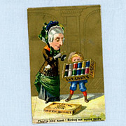 Trade Card  - Little Boy with Big Box of J & P Coats Thread