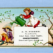 Cute Trade Card � Girl with Watering Can Pouring on Little Boy � Fisher Confectionery