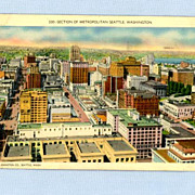 View of Metropolitan Seattle, Washington, Postmarked 1945