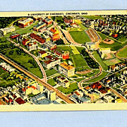 University of Cincinnati Aerial View, Postmarked 1946
