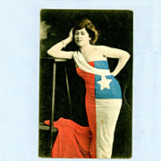 Pretty Woman Wearing Flag � National Flag Series Postcard, Circa 1910
