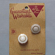 Set of Two White Milk Glass Buttons, on Original Card