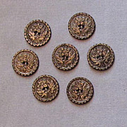 Set of Seven Pewter Buttons, Pretty Floral Design