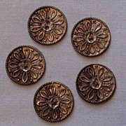 Set of Five Pewter Metal Buttons, Simple Spoke Design