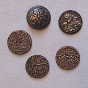 Collection of Five Different Vintage Pewter Metal Buttons