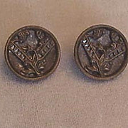 Pair of Victorian-Era Metal Buttons, Floral Design