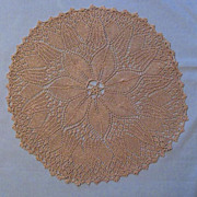 Exquisite Knitted Ecru Lace Doily - 15 Inch Diameter