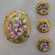 SALE Four Victorian-Era Porcelain Pins, Lovely Hand-Painted Violets