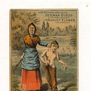German Syrup Medicine Trade Card for Consumption and Dyspepsia Cures