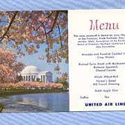 United Air Lines Postcard Menu, 1960 Mainliner Aircraft