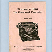 SOLD Underwood Typewriter Manual � Perfect for Vintage Typewriter Collectors