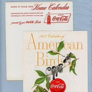 SALE Beautiful Calendar, 1958, �American Birds�, by Coca Cola