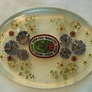 SALE Pebble Beach Golf US Open 1972 Souvenir � Funky Flowers in Lucite