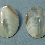 SALE Large Oval Mother-of-Pearl Earrings  Dramatic