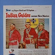 REDUCED Santa Fe Railroad Ad Page Featuring Pueblo Indian Guides, 1954 SEP