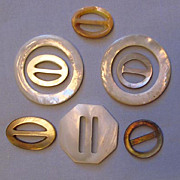 Assortment of Mother-of-Pearl Shell Buckles, Large and Small