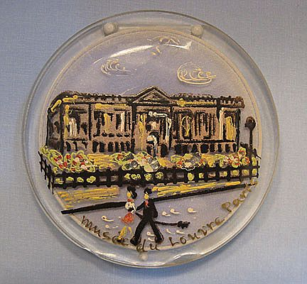 Large Lucite Compact, Hand-Painted Louvre Paris Scene - Unique