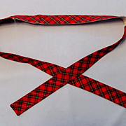 1940s Bow Tie, Adjustable Prest-O-Size Brand, Red Plaid