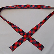 Retro Bow Tie, Red and Blue Plaid, Adjustable Prest-O-Size Brand