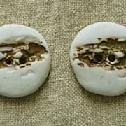 Pair of  Back-to-Nature Ceramic Buttons � 1960s Hand-crafted