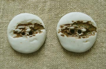 Pair of  Back-to-Nature Ceramic Buttons – 1960s Hand-crafted