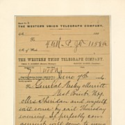 General Philip H. Sheridan, Handwritten & Signed Telegram