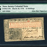 SOLD Colonial Currency, JOHN HART Signed NJ Note 1776