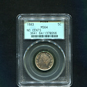 "1883 ""No Cents"" Liberty Nickel  PCGS MS-64 Old Green Holder"