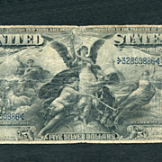 "1896  $5 ""Educational Series"" Silver Certificate a Very Fine Bill"