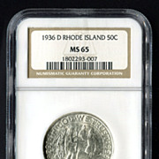 1936-D Rhode Island NGC MS 65, Gem Silver Half Dollar