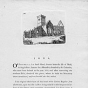 Early Print of Iona Abbey, Scotland,  with descriptive text