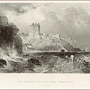 Victorian Steel Engraving: Ravenscraig Castle Near Kirkcaldy