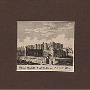 Matted topographical Early C19 Copper Engraving: Beaumaris Castle in Anglesea